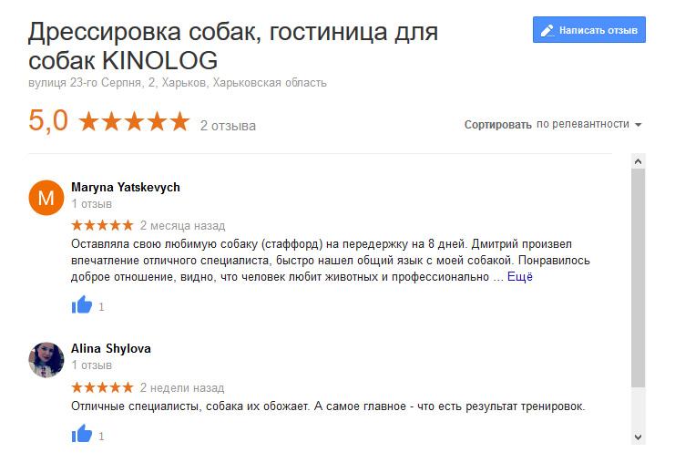 Отзывы на кинолога Google maps